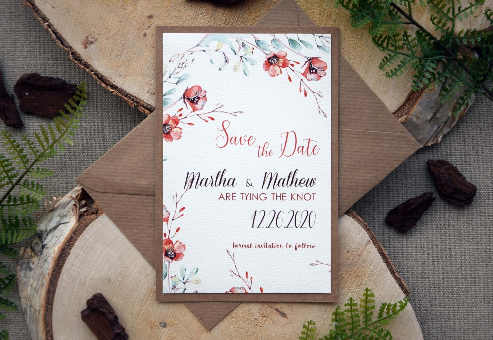 fall floral save the date wedding cards autumn wedding save the date