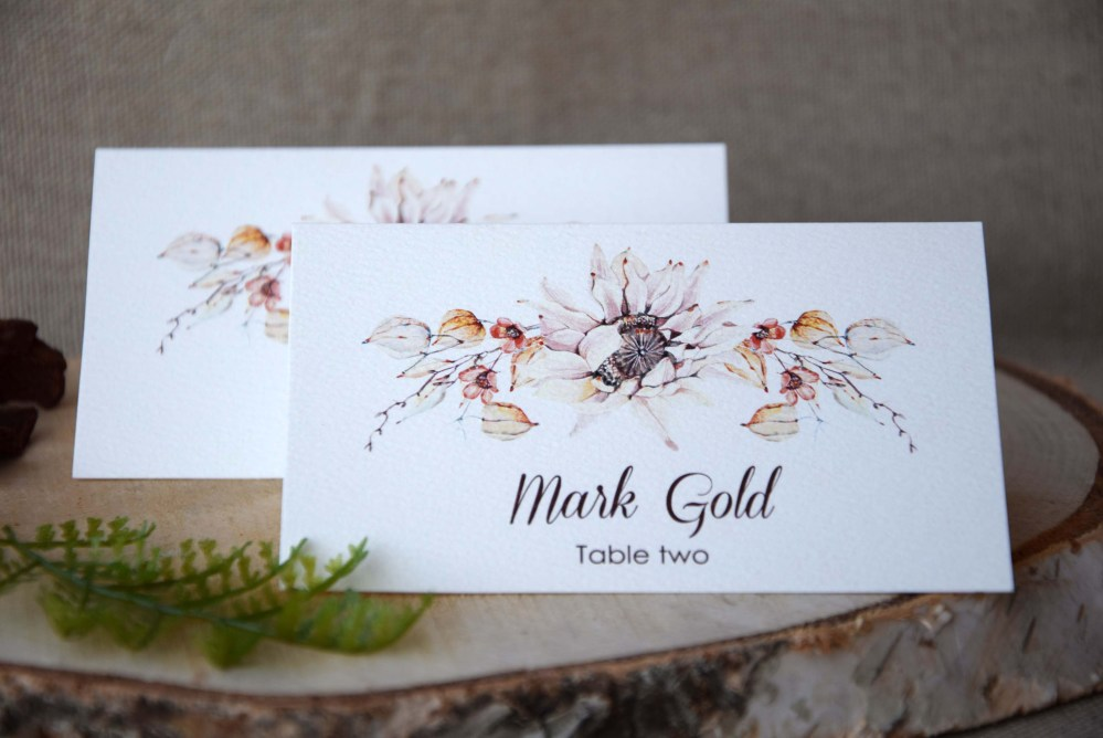 Watercolor Simple Wedding Place Cards