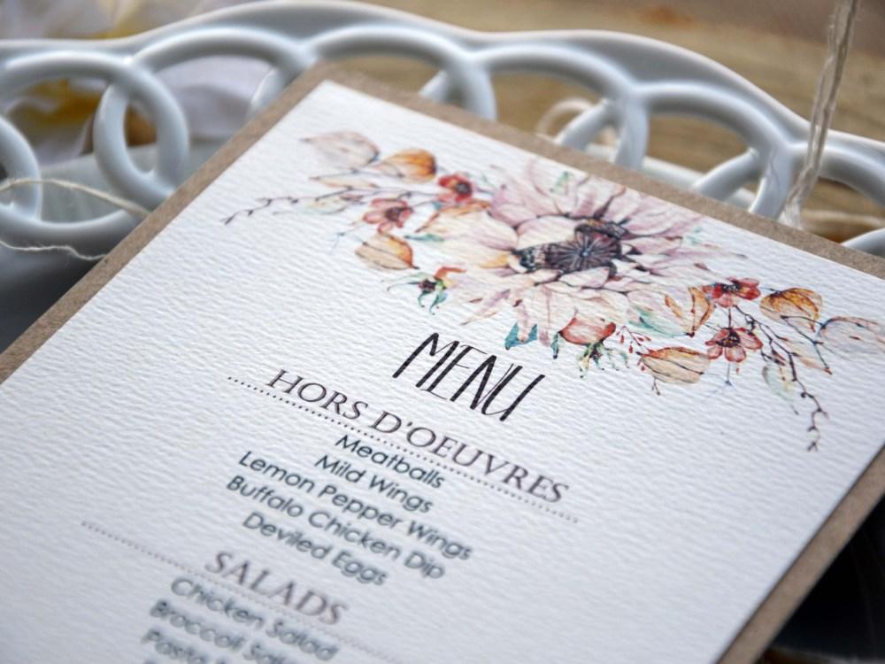Floral Watercolor Wedding Dinner Menu