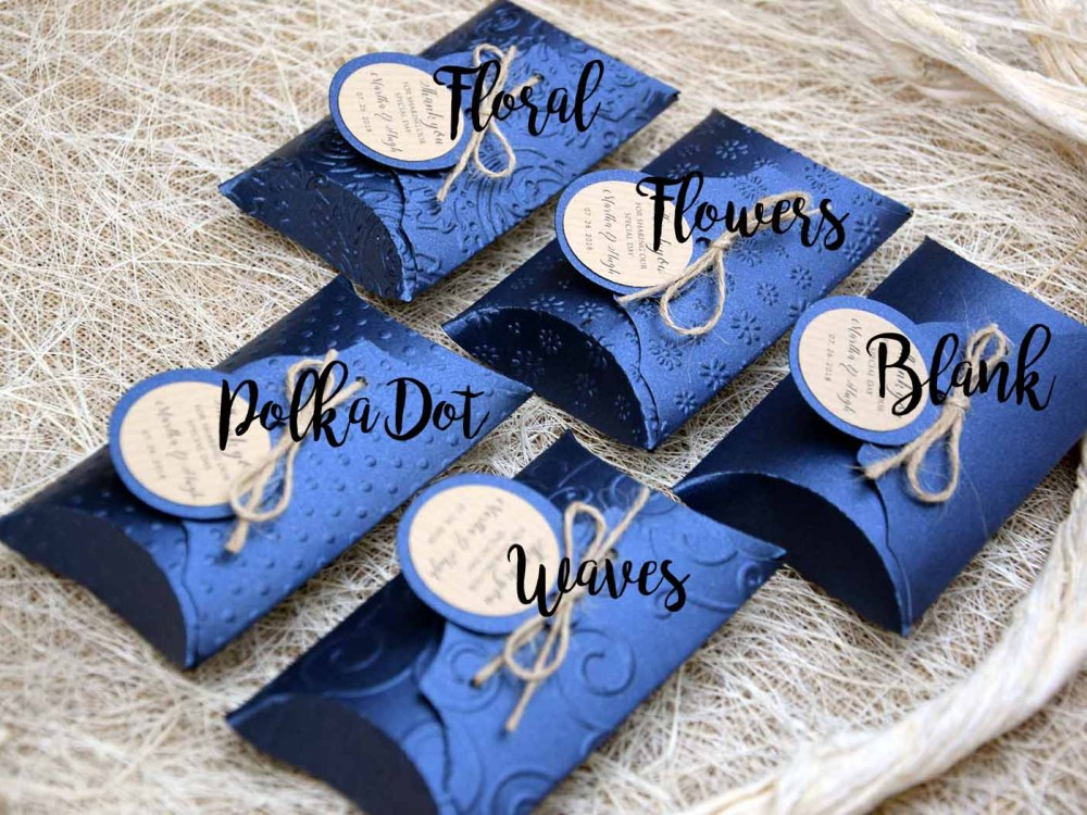 Blue Wedding Favor Pillow Boxes