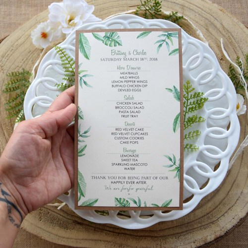 Greenery Wedding Dinner Menu