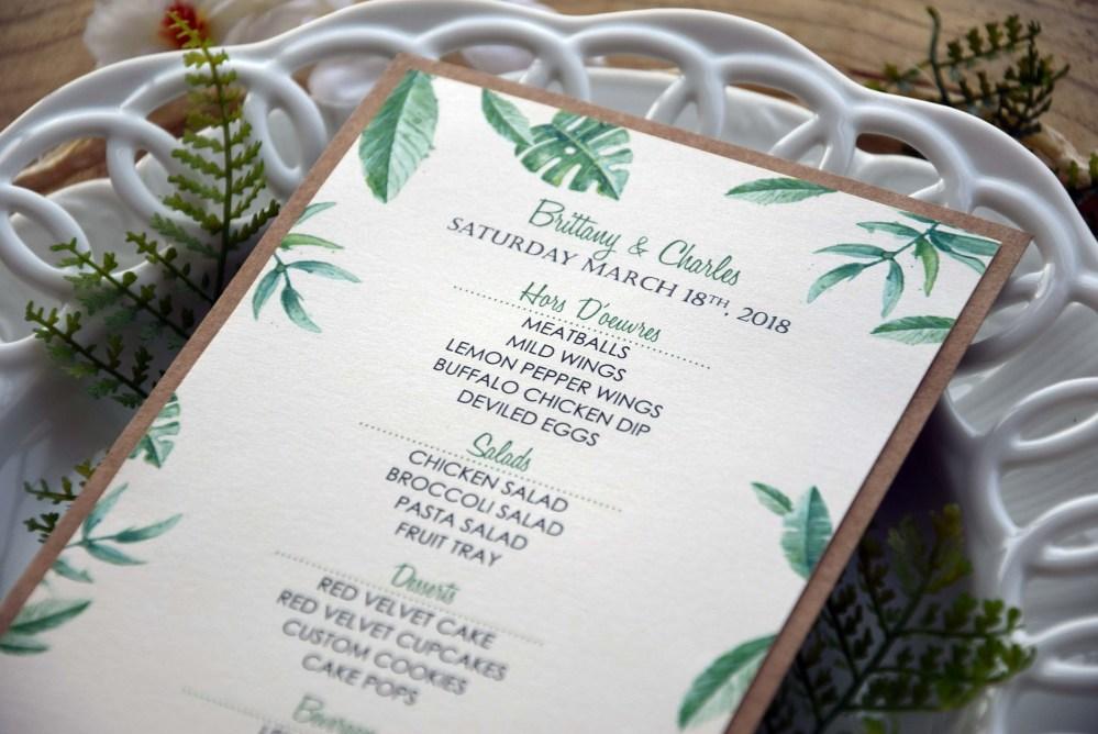 Greenery Wedding Dinner Menu
