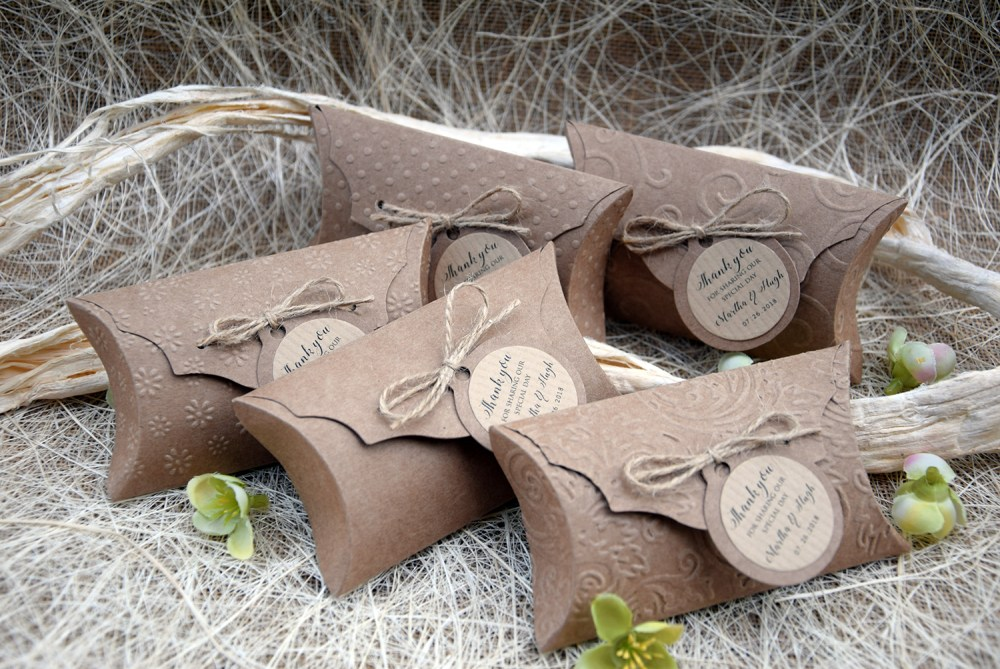 Rustic Party Favor Pillow Boxes