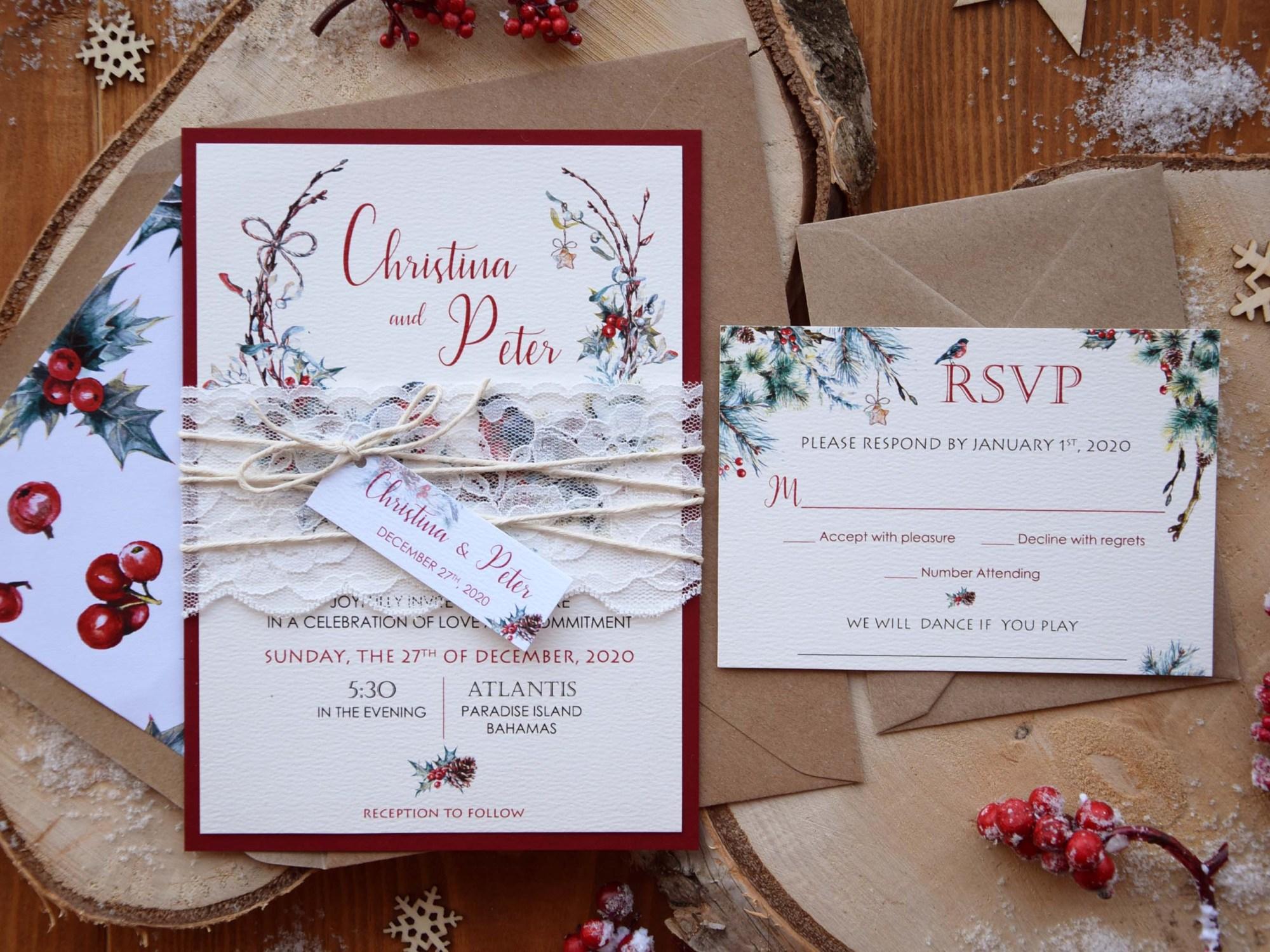 Custom Winter Wedding Invitations