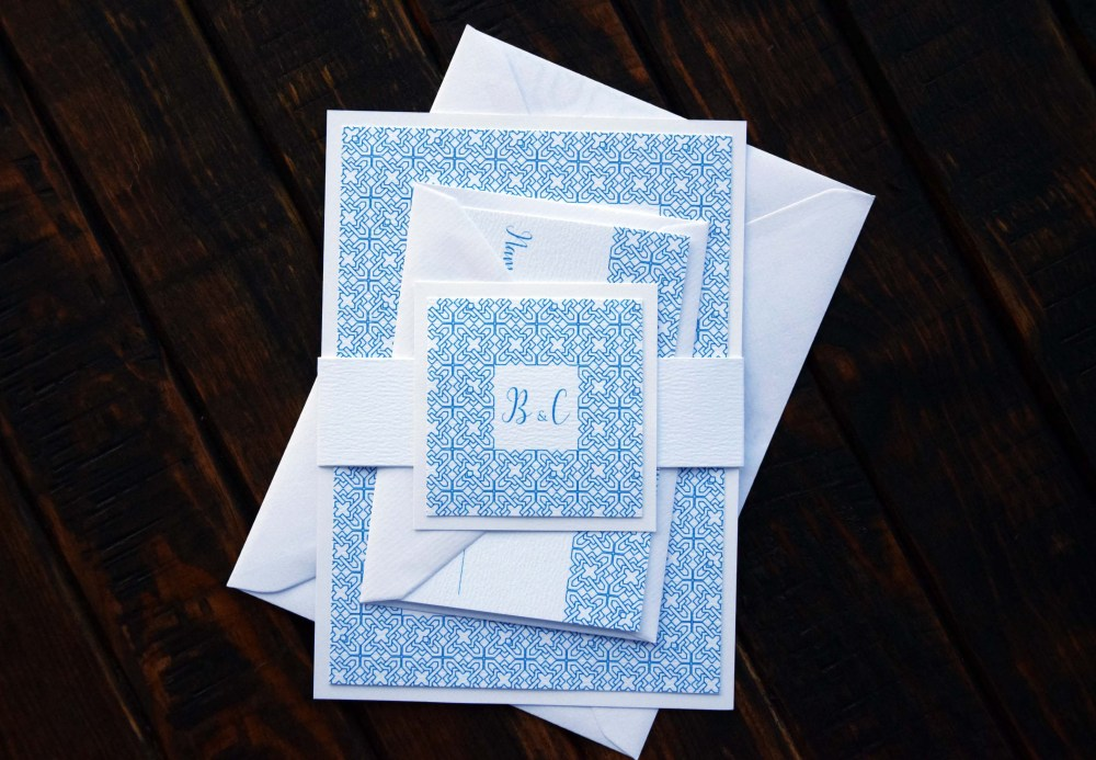 Blue and White Tile Wedding Invitations