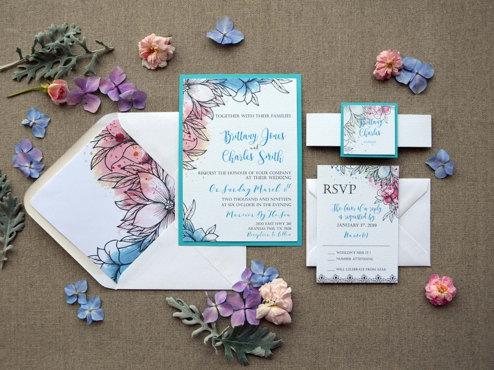 Modern Tiffany Wedding Invitations