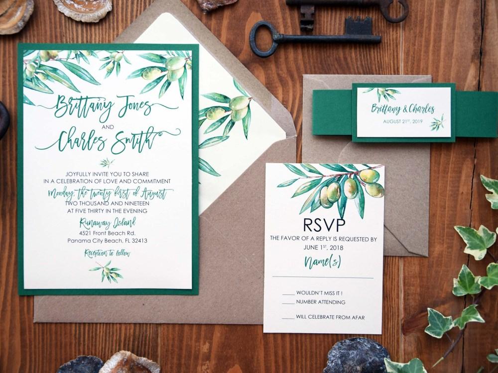 Nature Olive Green Wedding Invitations