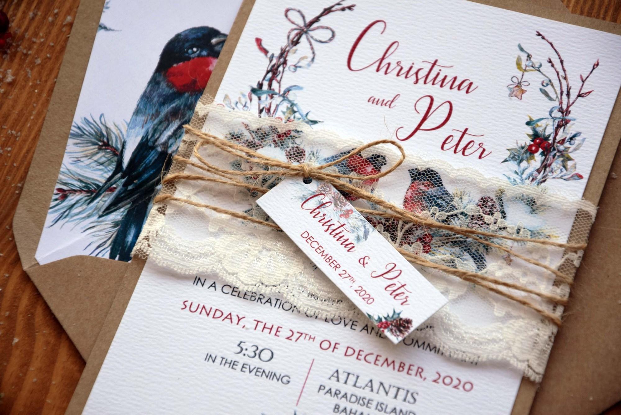 Rustic Christmas Wedding Invitations