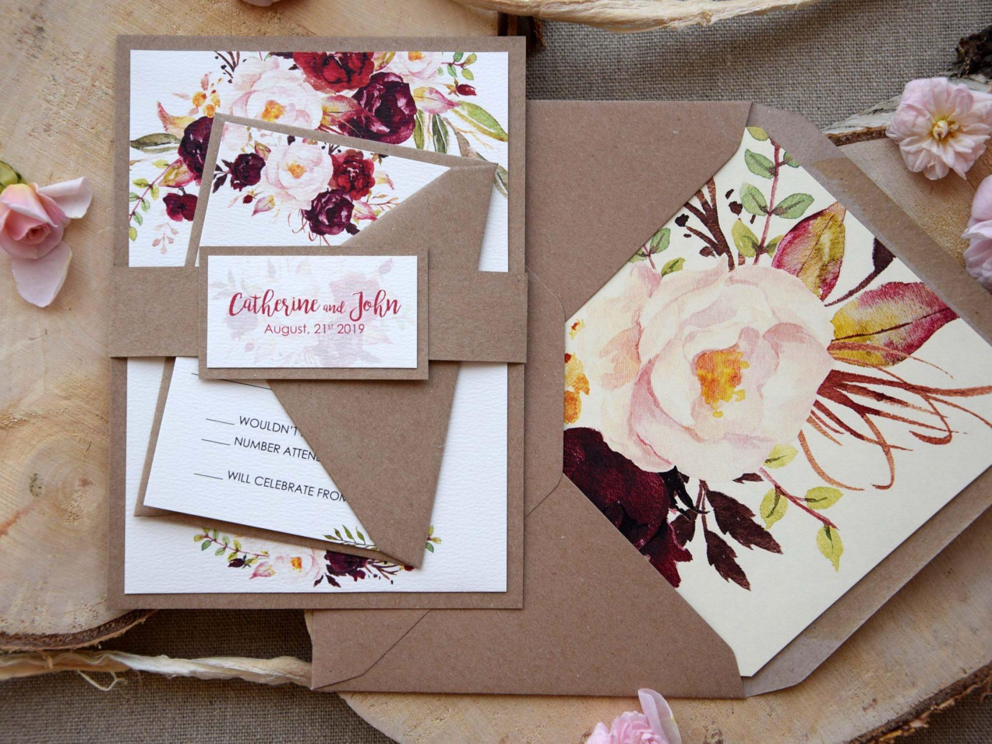 Rustic Chic Floral Wedding Invitations
