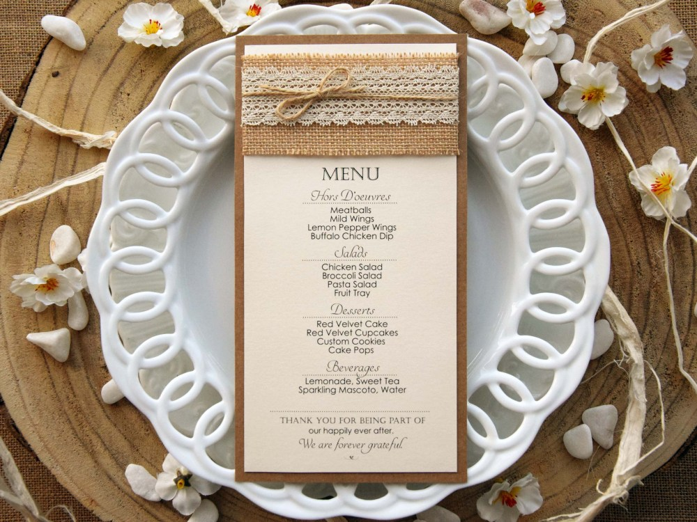 Ivory Rustic Lace Wedding Dinner Menu