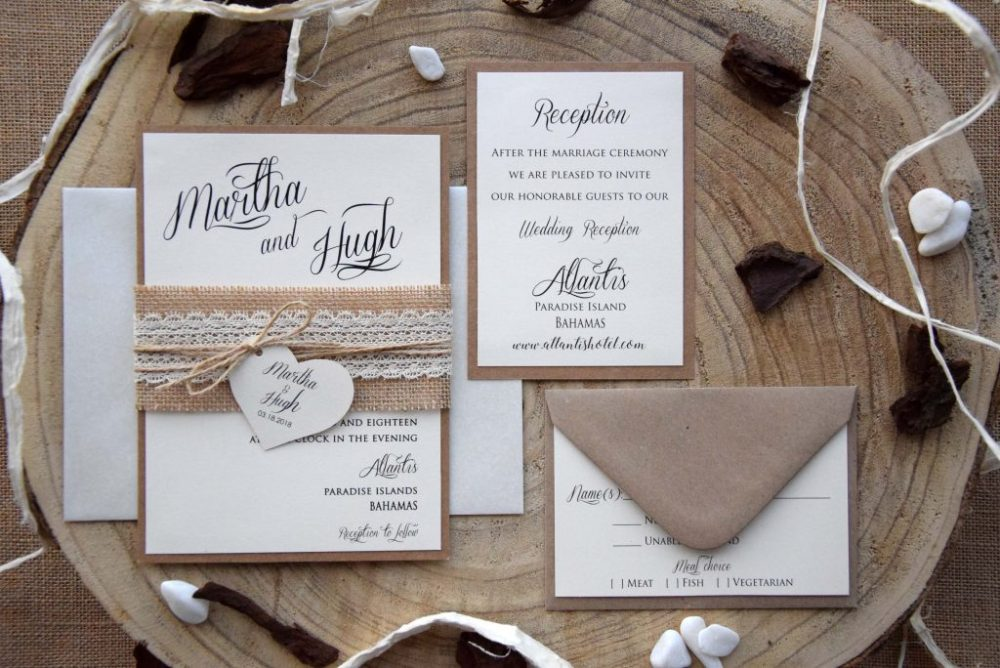 Lace Wedding Invitations Kit, Burlap and Lace Marriage Invitations