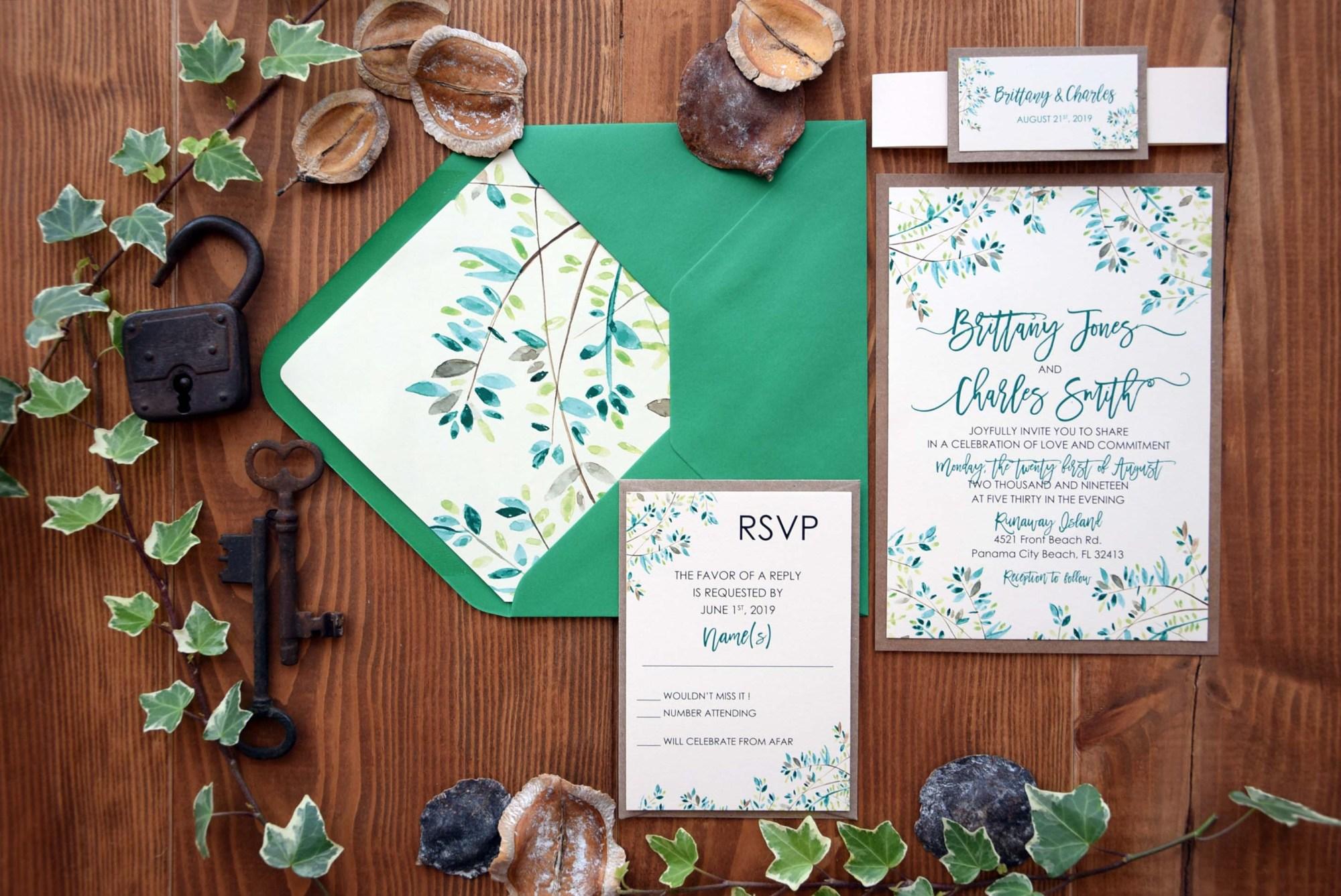 Rustic Nature Green Wedding Invitations