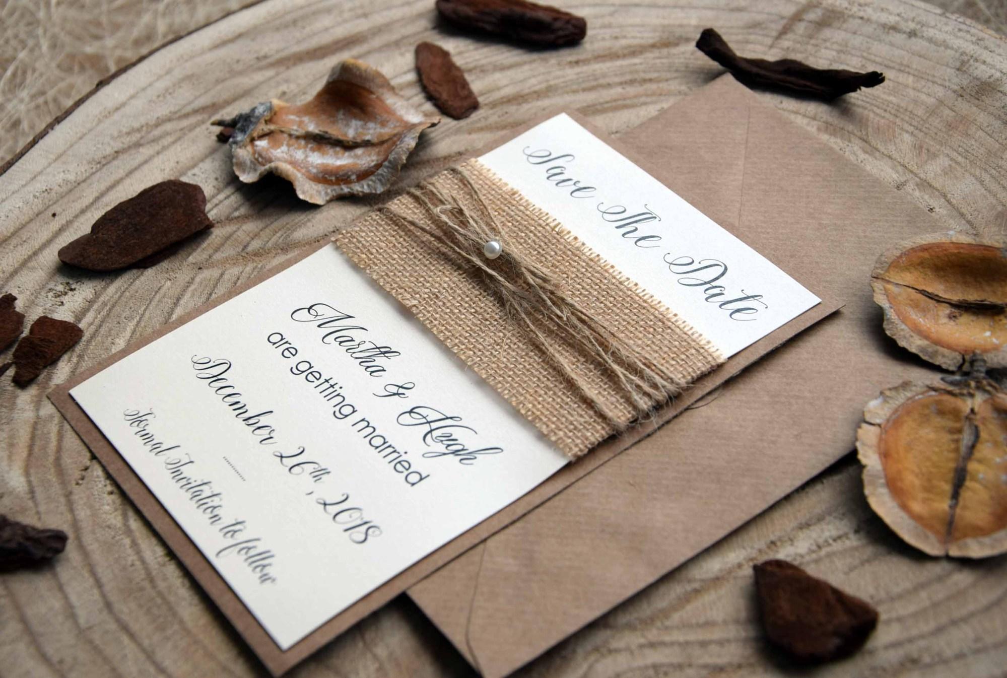Burlap Wedding Save The Date Cards