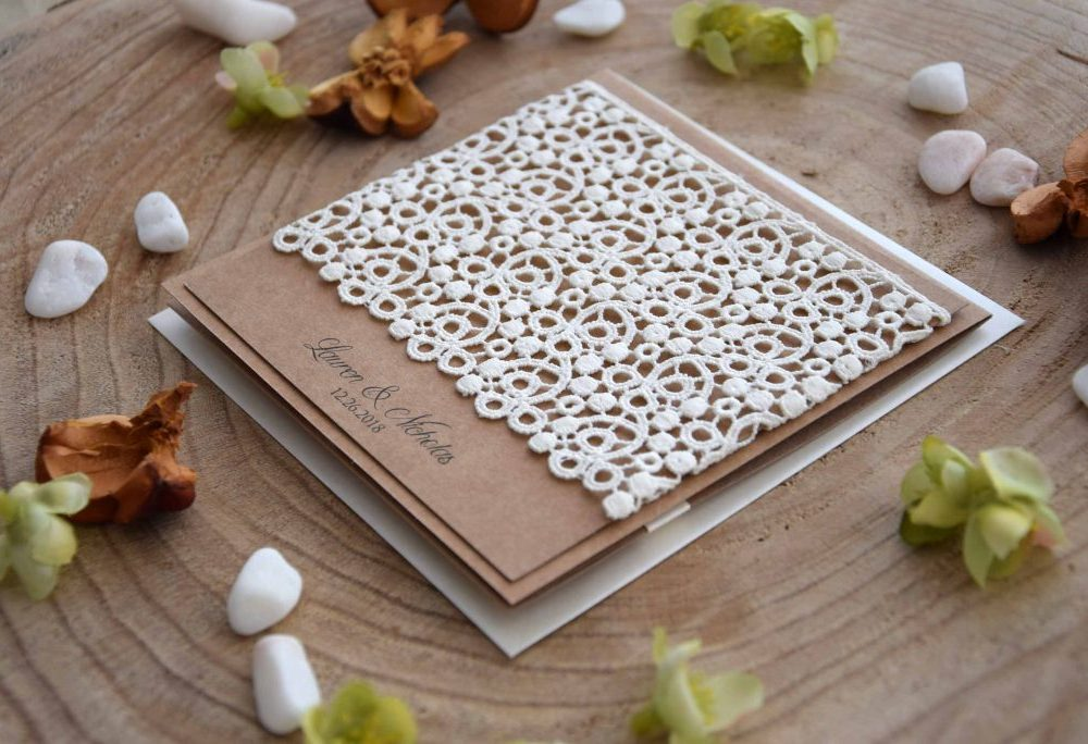 Lace Pocketfold Wedding Invitations