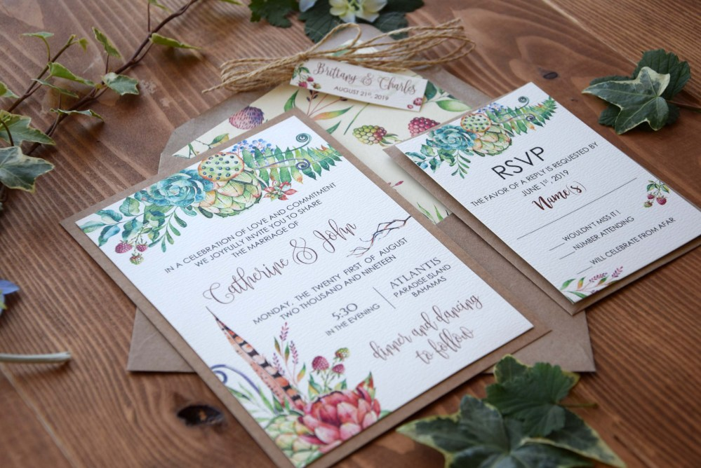 Spring Tropical Wedding Invitations