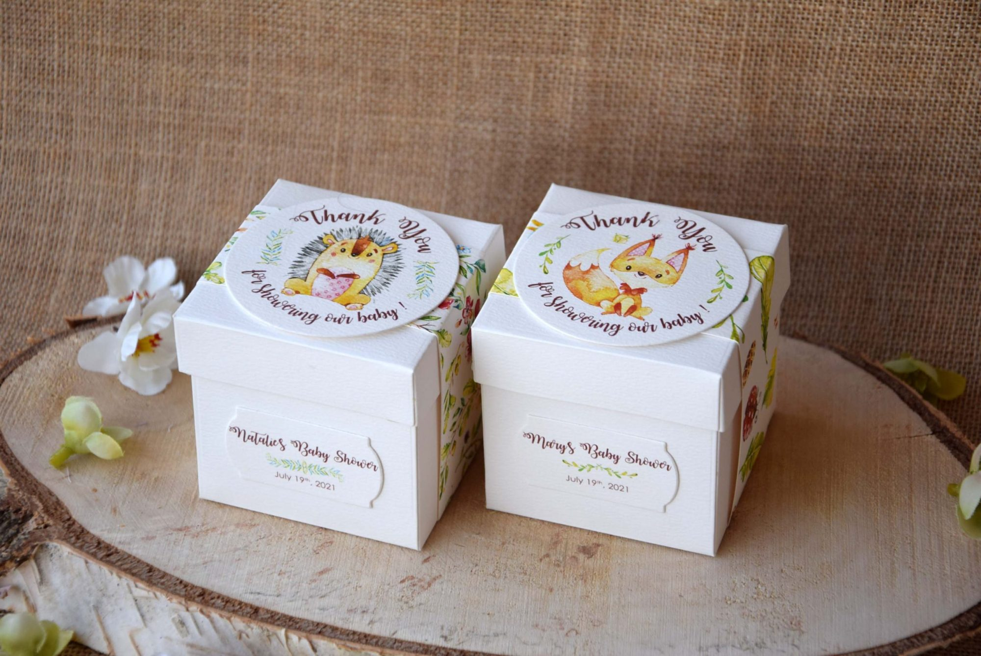 Personalized Square Baby Shower Favor Boxes