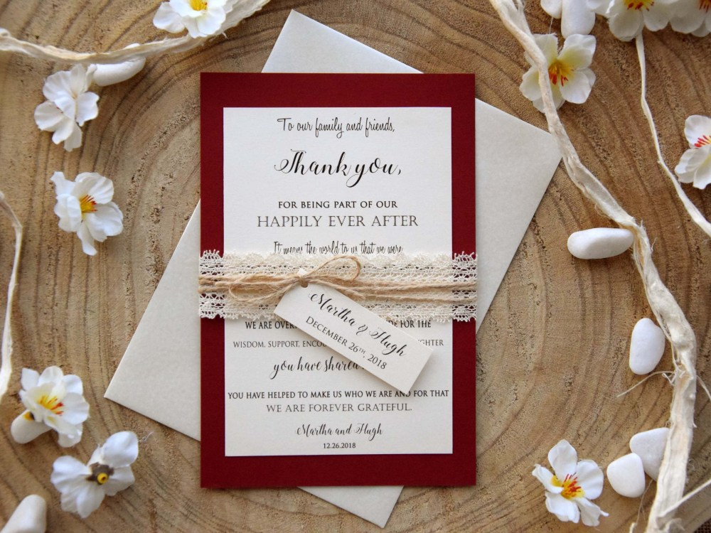 Burgundy Wedding Thank You Cards