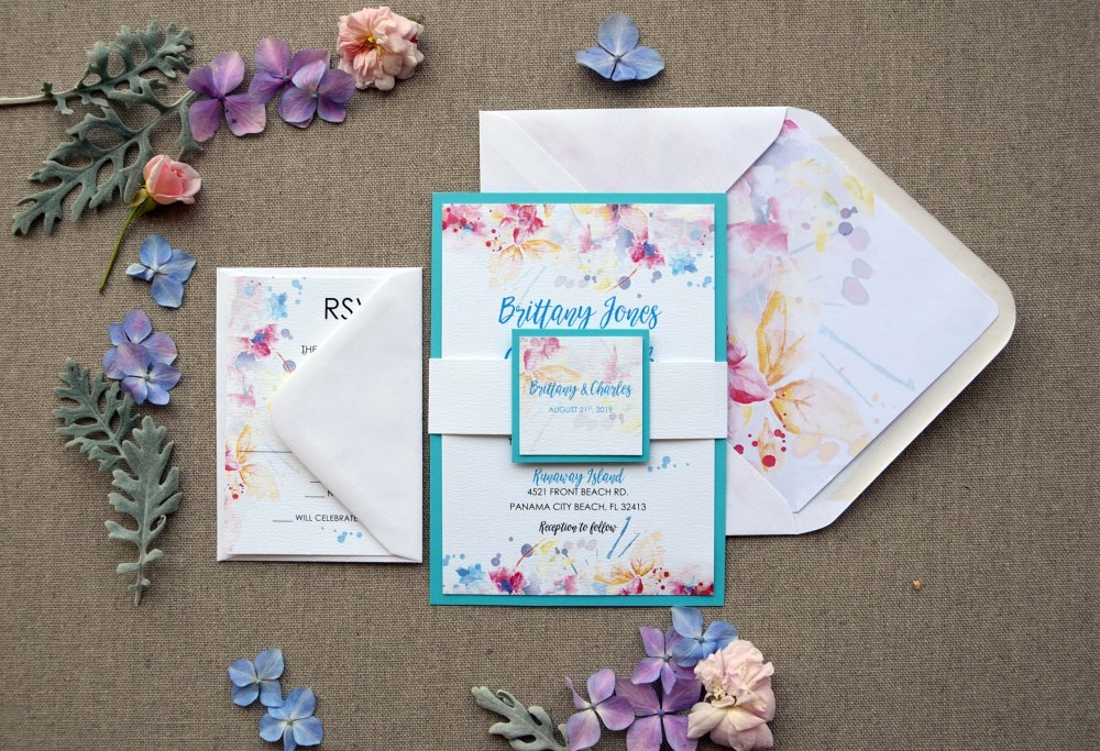 Watercolor Tiffany Blue Wedding Invitations