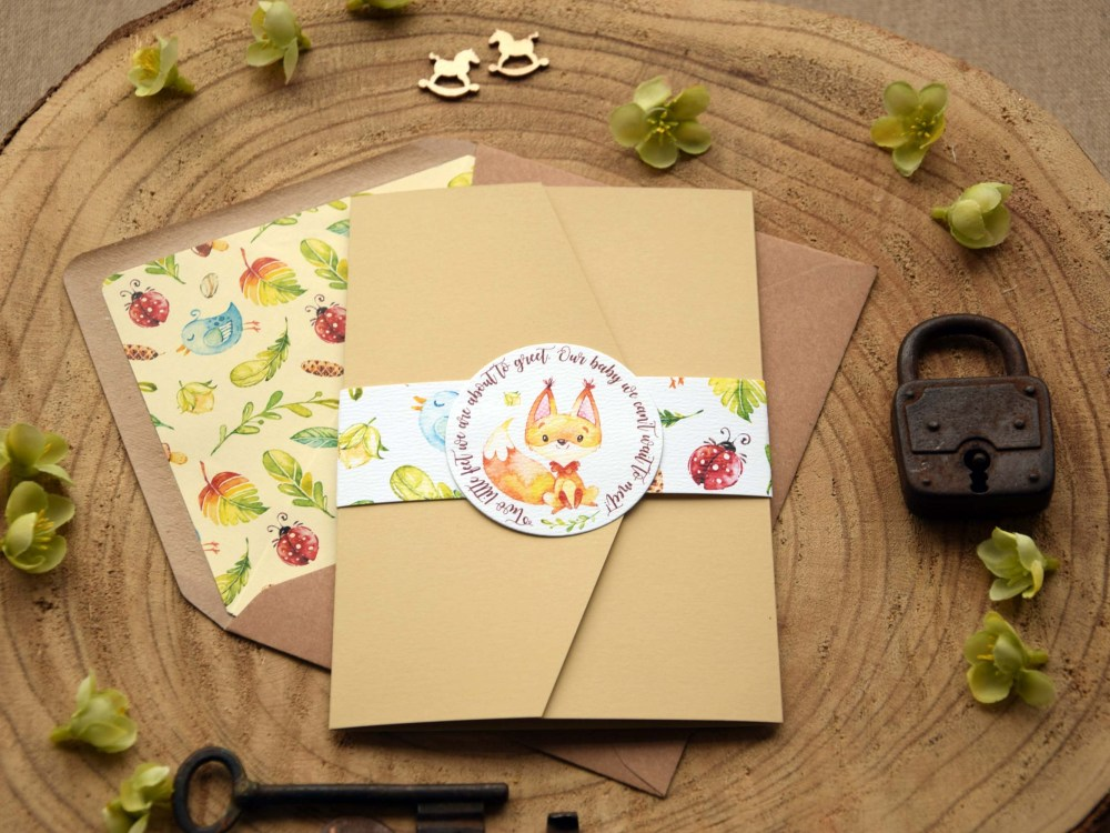 Woodland Themed Baby Shower Invitations