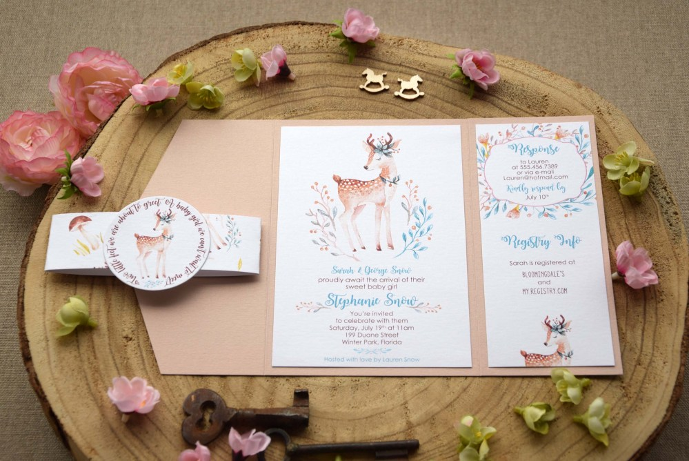 Woodland Themed Baby Shower Invitations for girls