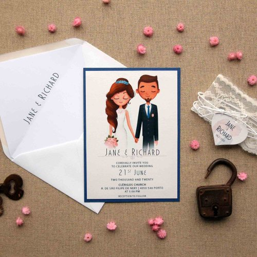 Navy and White Portrait Wedding Invitations