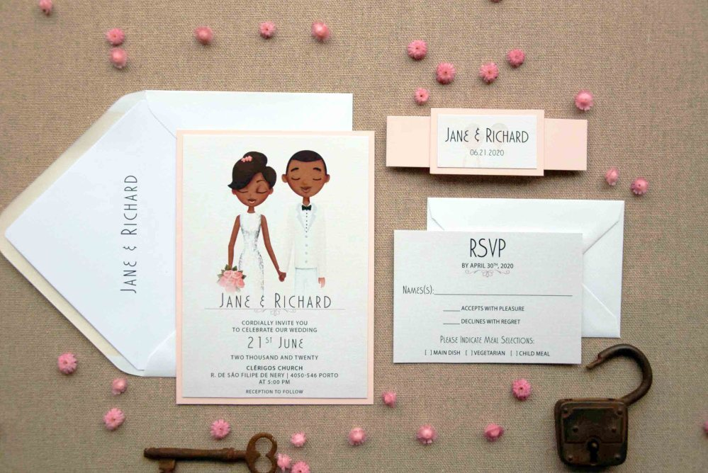 Petal Portrait Wedding Invitations, Personalized Portrait Invitations