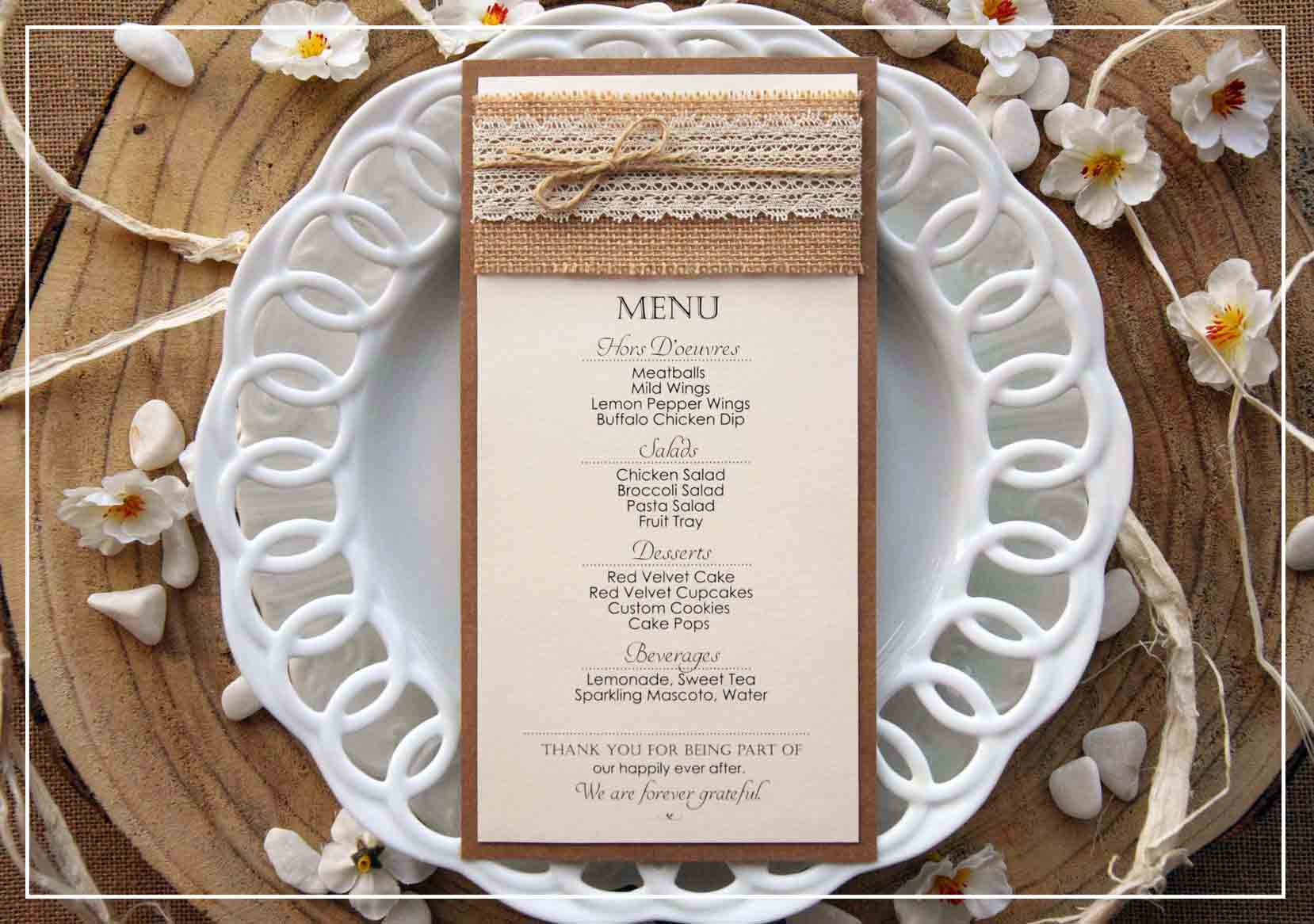Wedding Dinner Menus