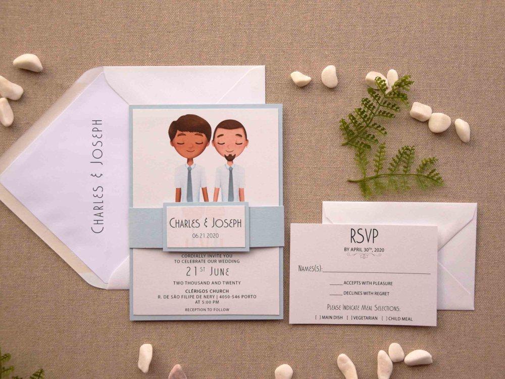 Blue Portrait Wedding Invitations