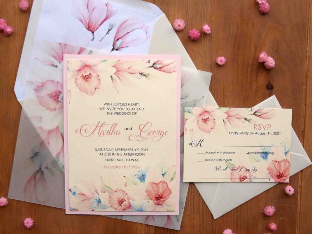 Pink Romantic Wedding Invitations