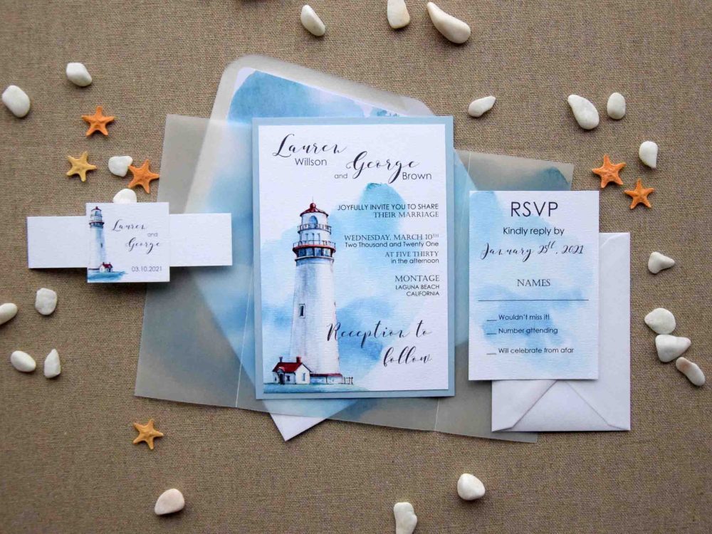 Watercolor Nautical Wedding Invitations