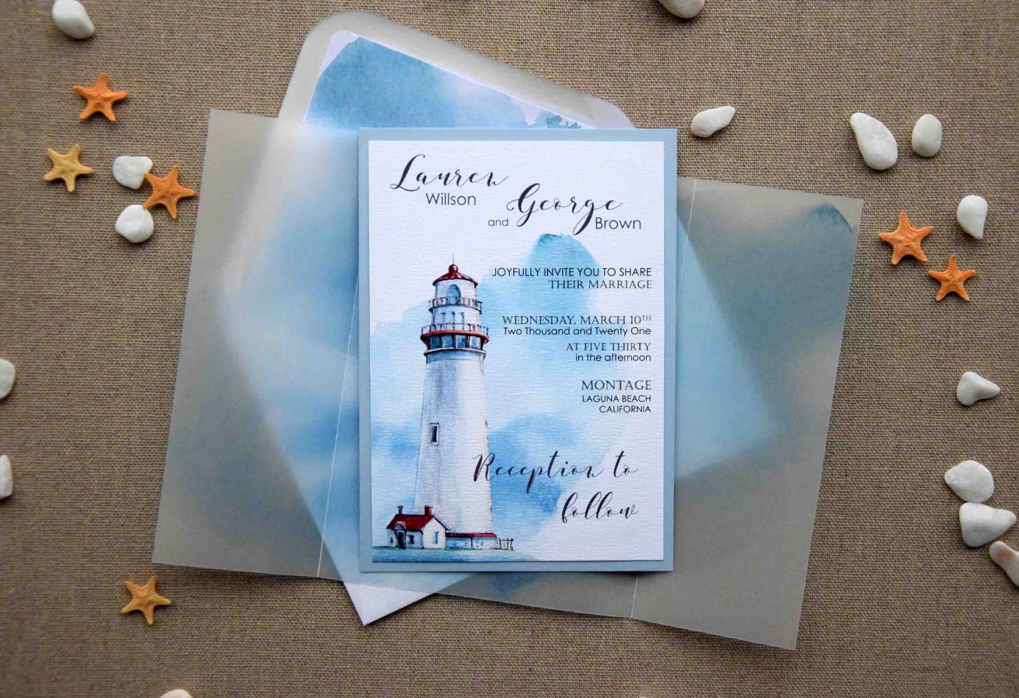 Watercolor Nautical Wedding Invitations