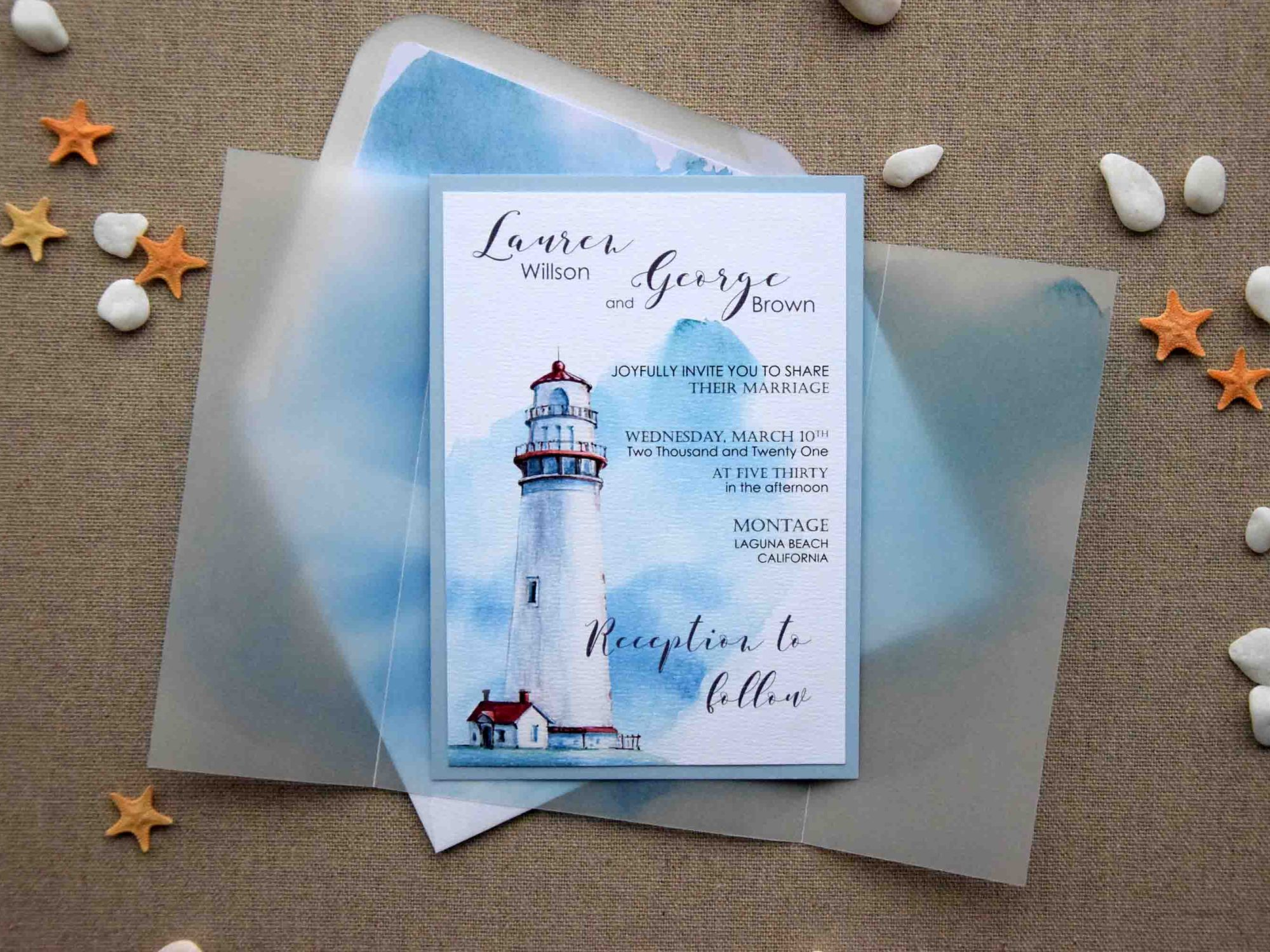 Nautical Wedding Invitations.Watercolor Nautical Wedding Invitations