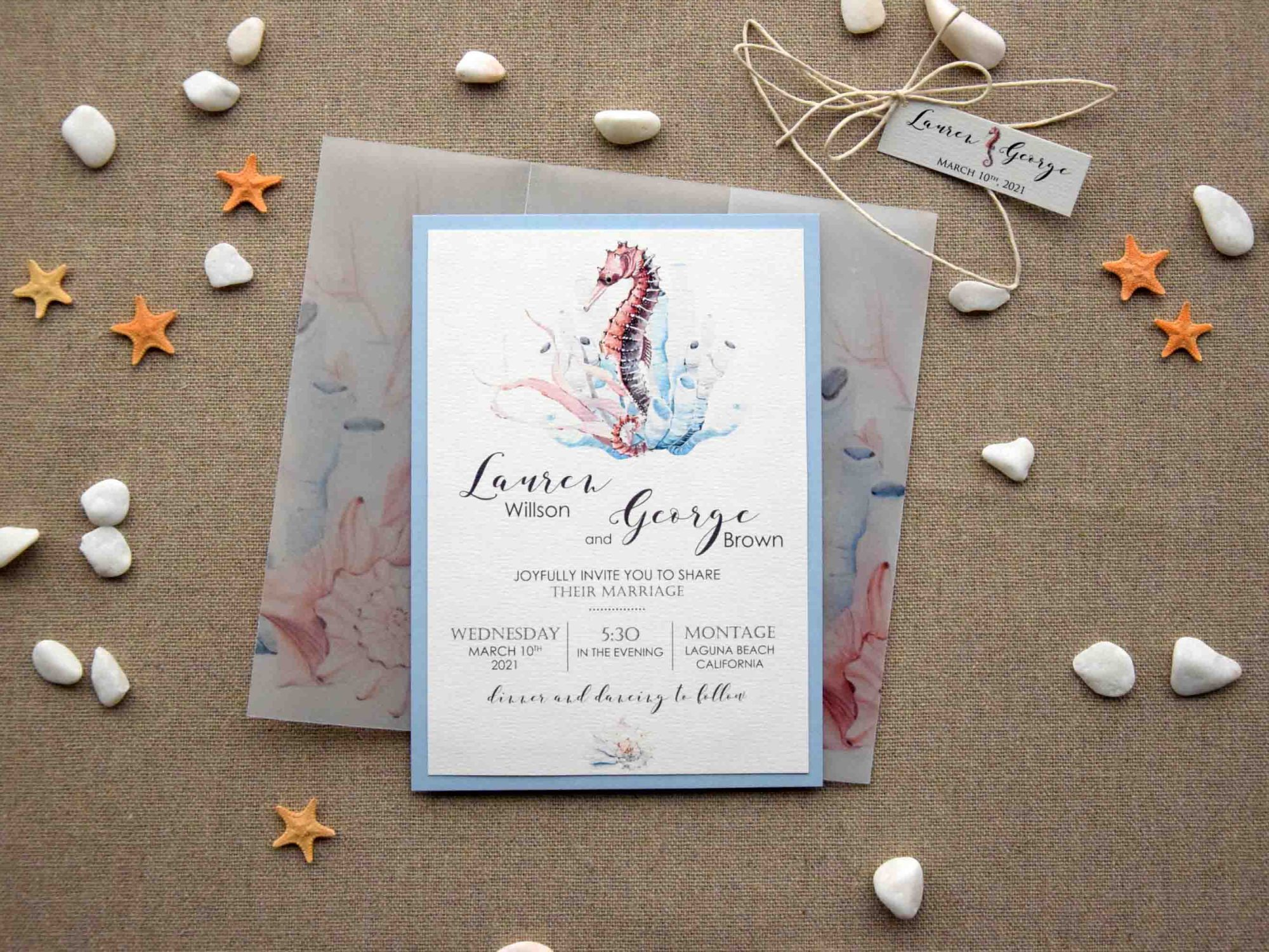 Watercolor Beach Wedding Invitations