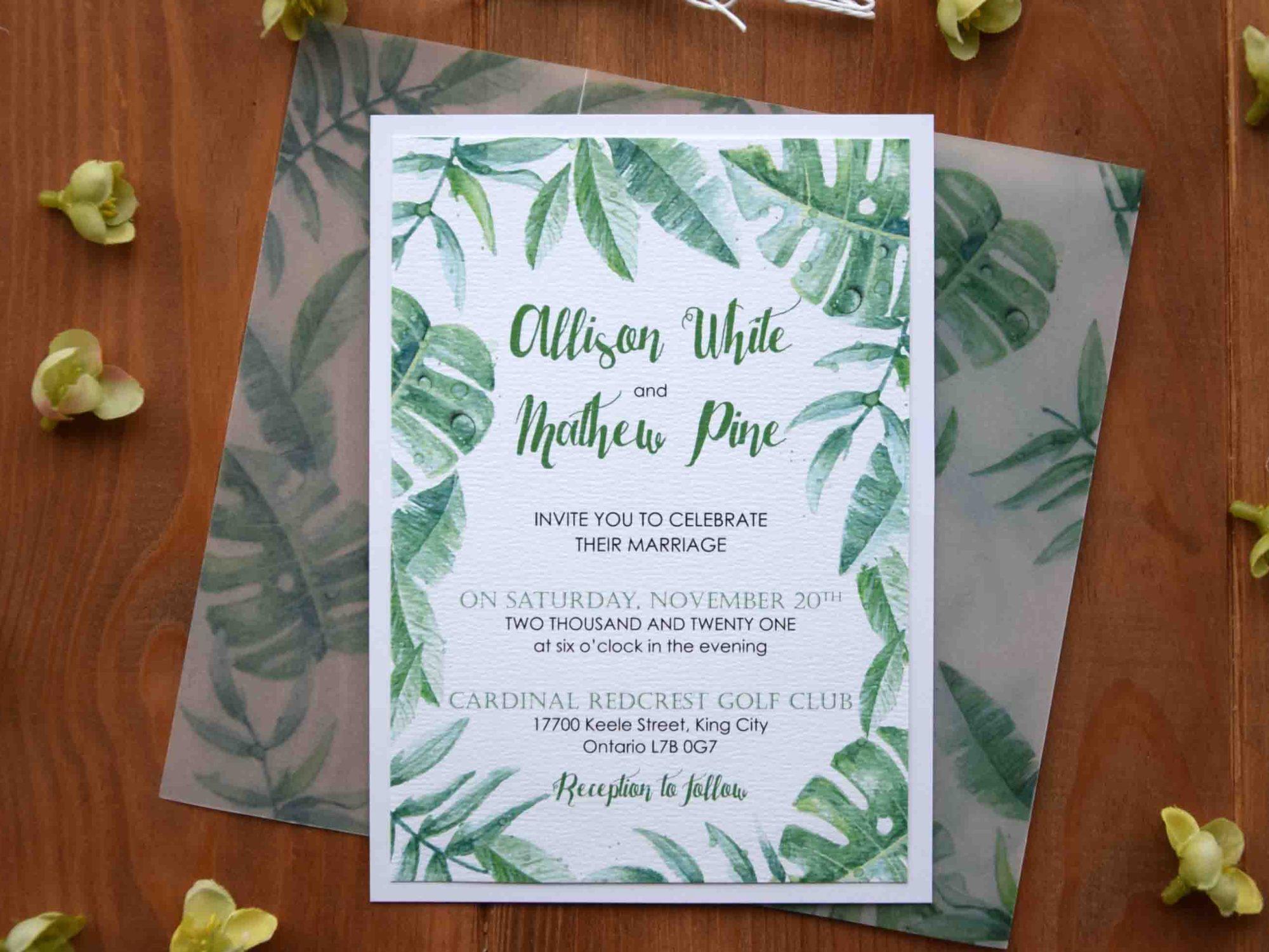 Greenery Leafs Wedding Invitations