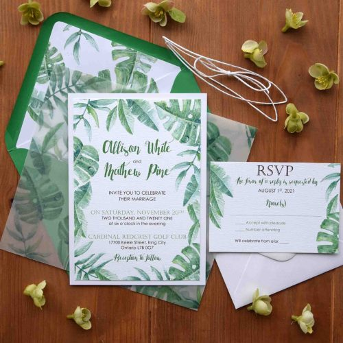 Greenery Leafs Wedding Invitations