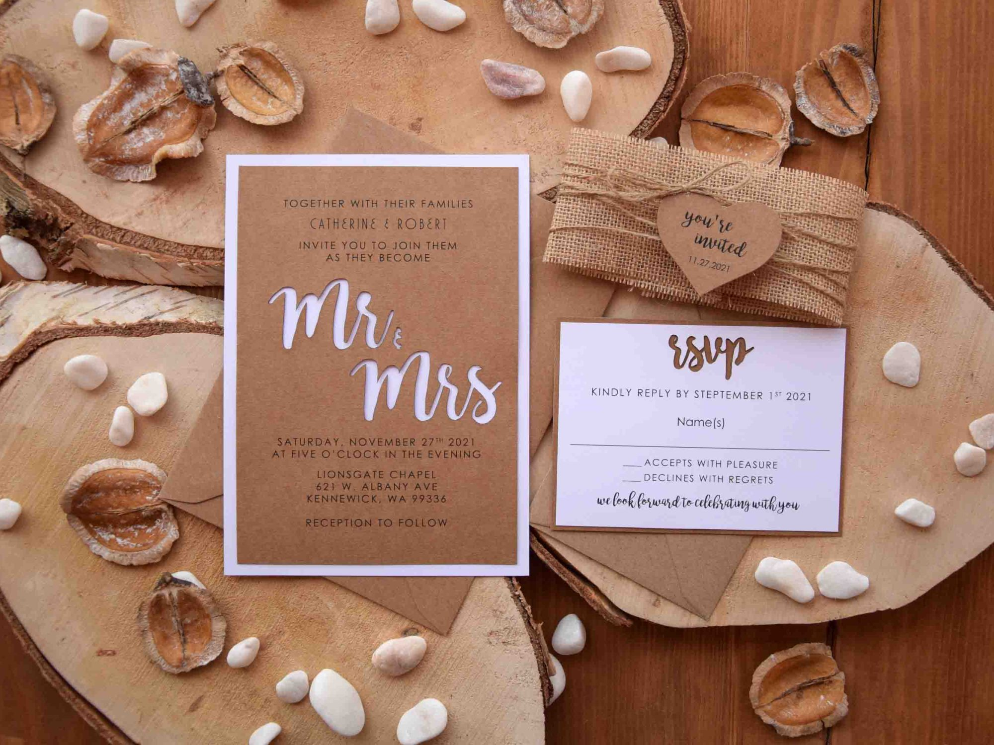 Mr and Mrs Laser Cut Wedding Invitations