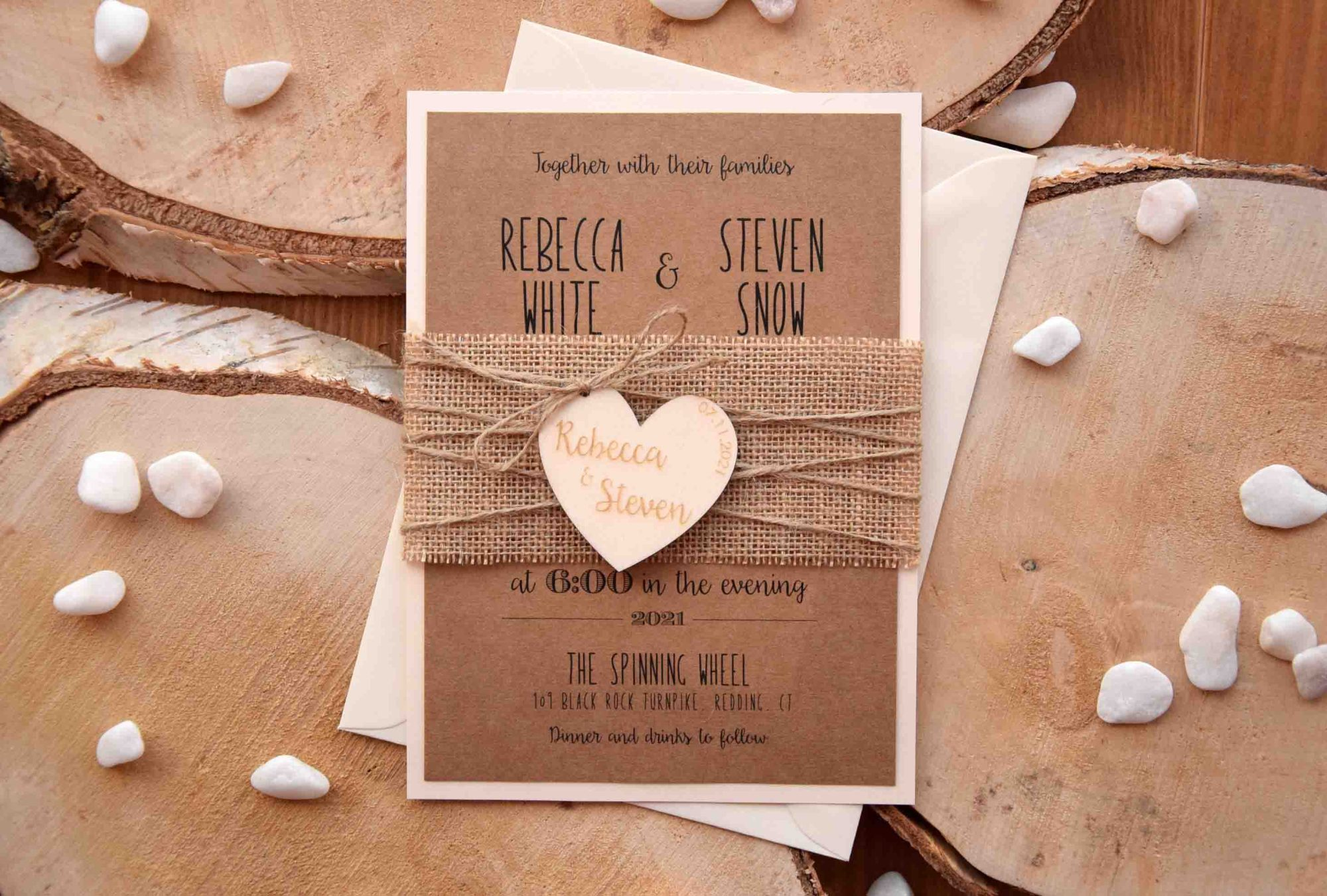 Rustic Wedding Invitation With Wood Heart
