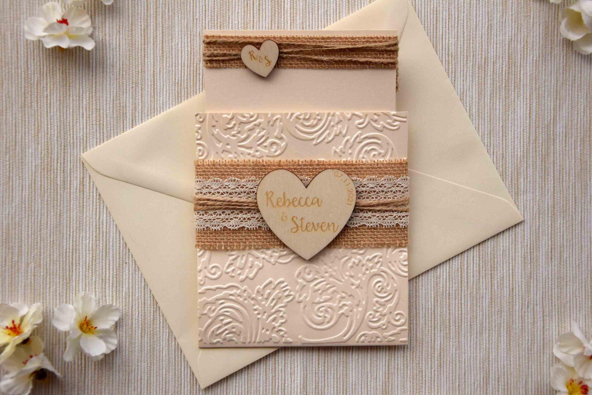 Rustic Burlap and Lace Wedding Invitations Kit