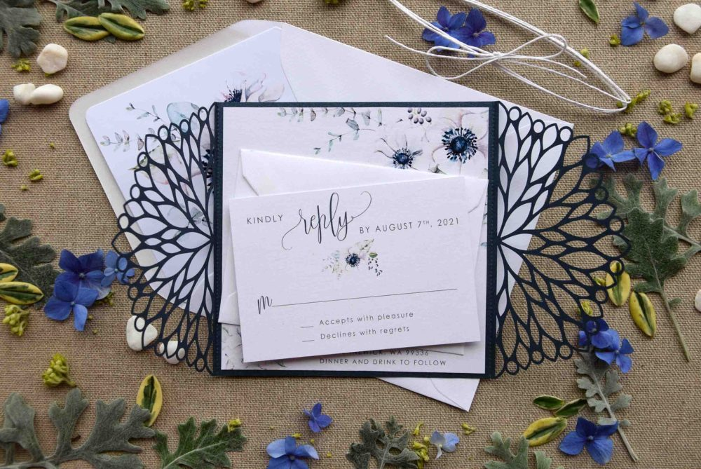 Blue Floral Pocket Wedding Invitations