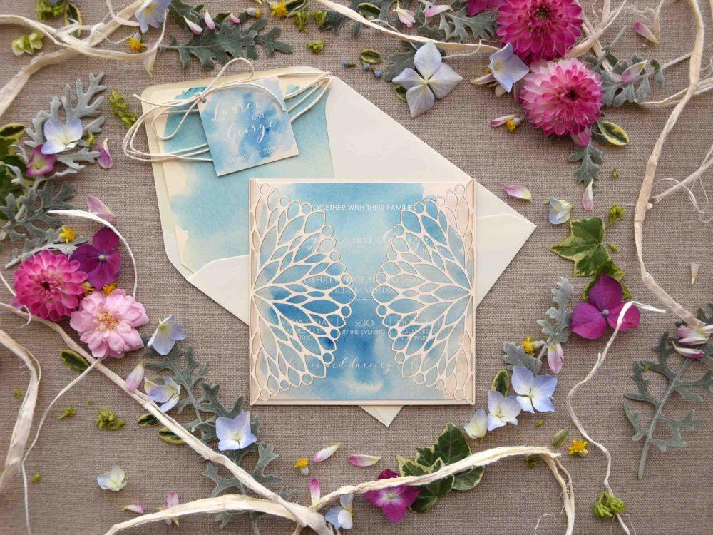 Beach Laser Cut Wedding Invitations