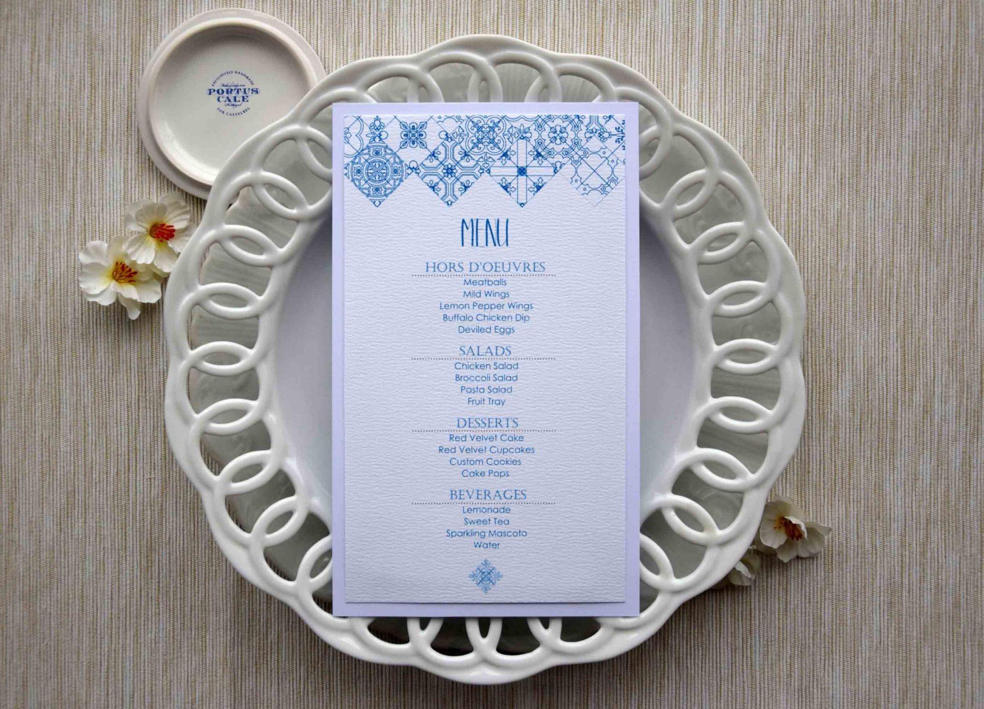 Blue Tile Dinner Menus