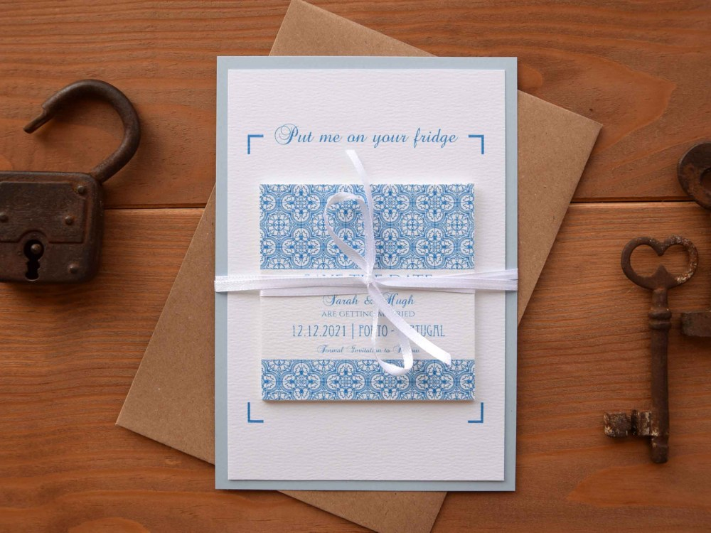 Magnet Blue Tile Wedding Save The Dates