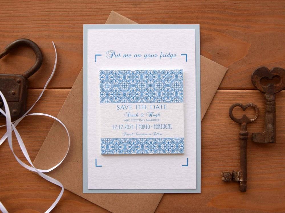 Magnet Blue Tile Wedding Save The Dates