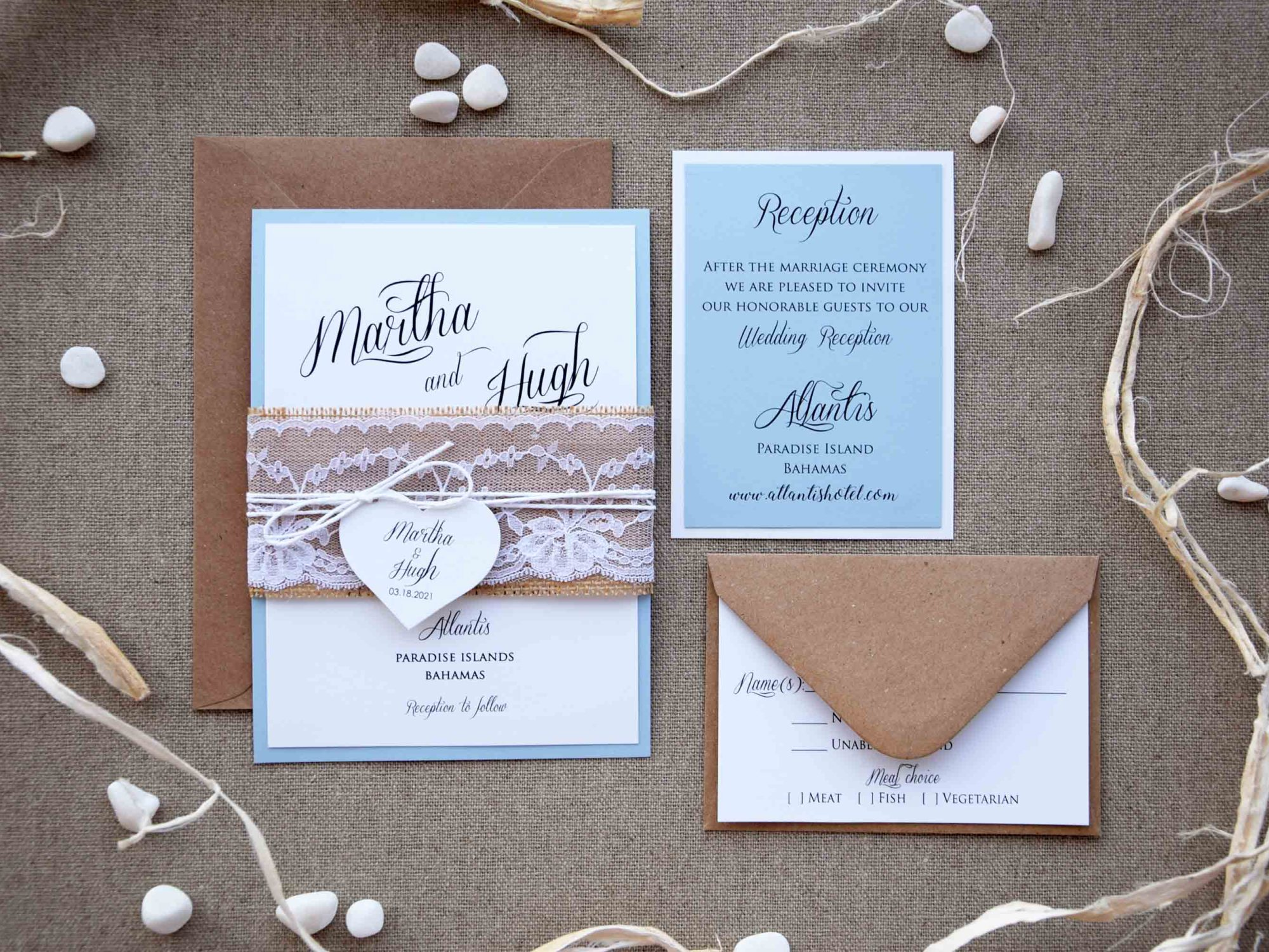 Blue and White Rustic Lace Wedding Invites