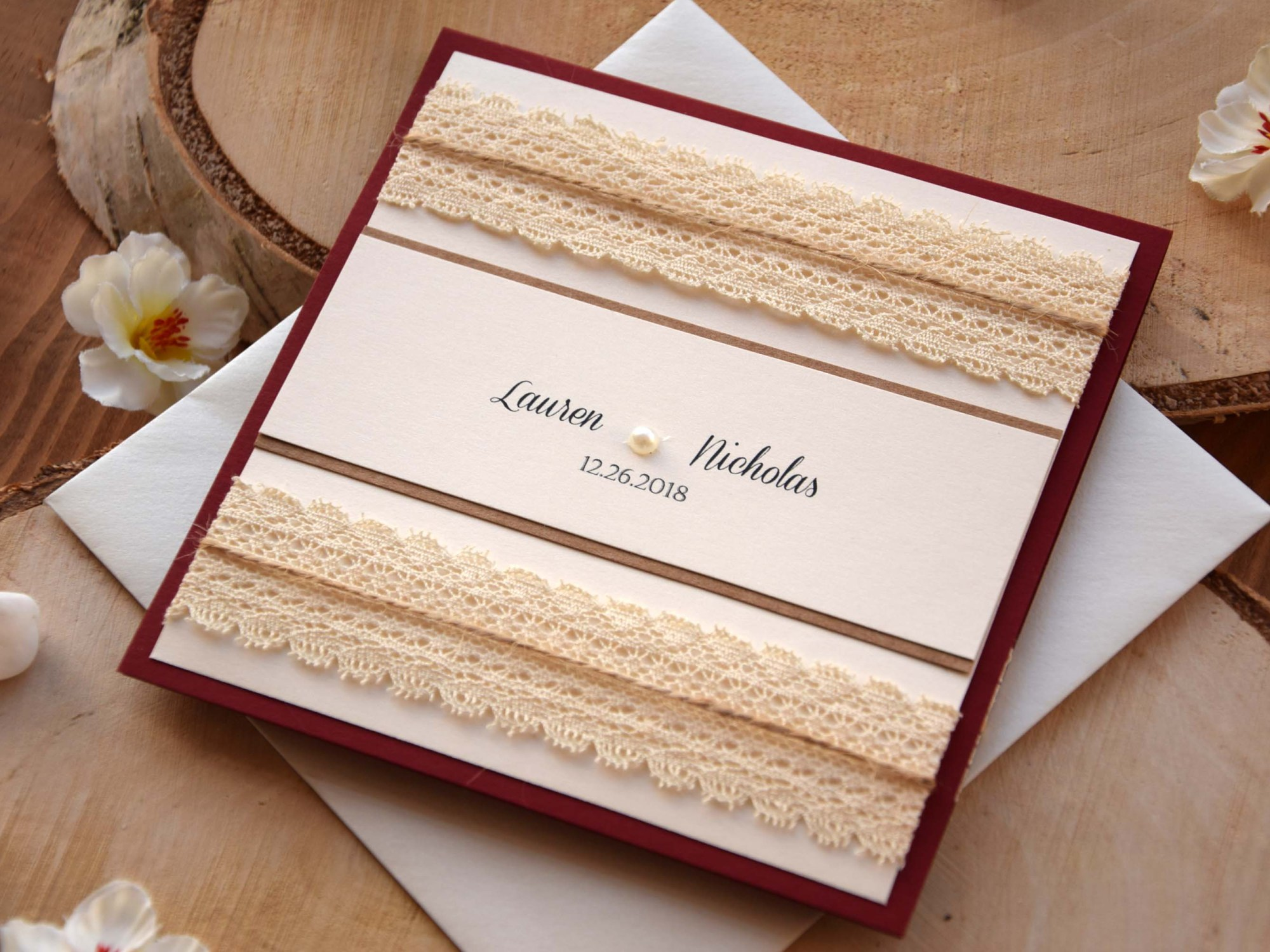Burgundy Pocket Wedding Invitation