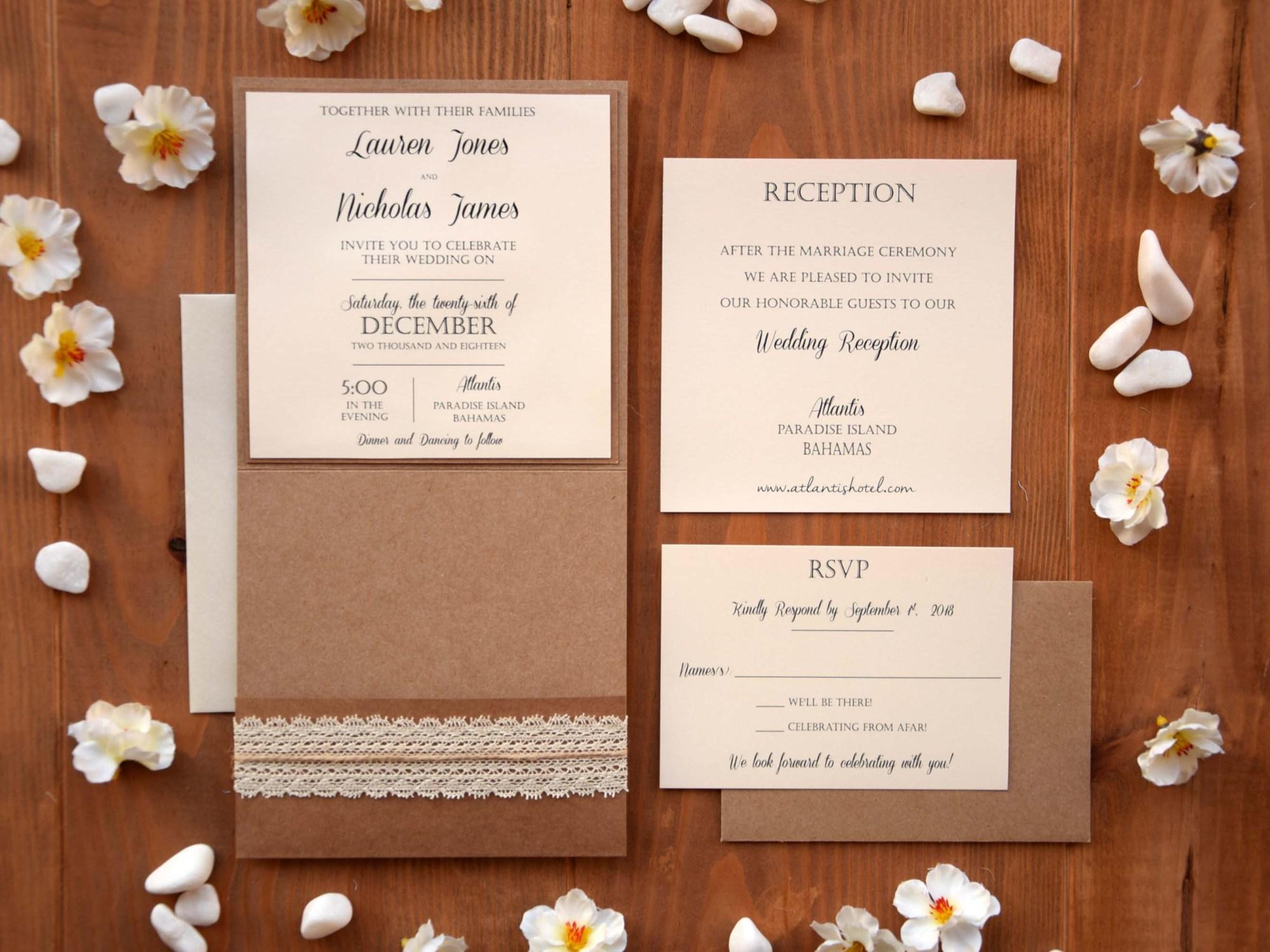 Rustic Pocket Wedding Invitation