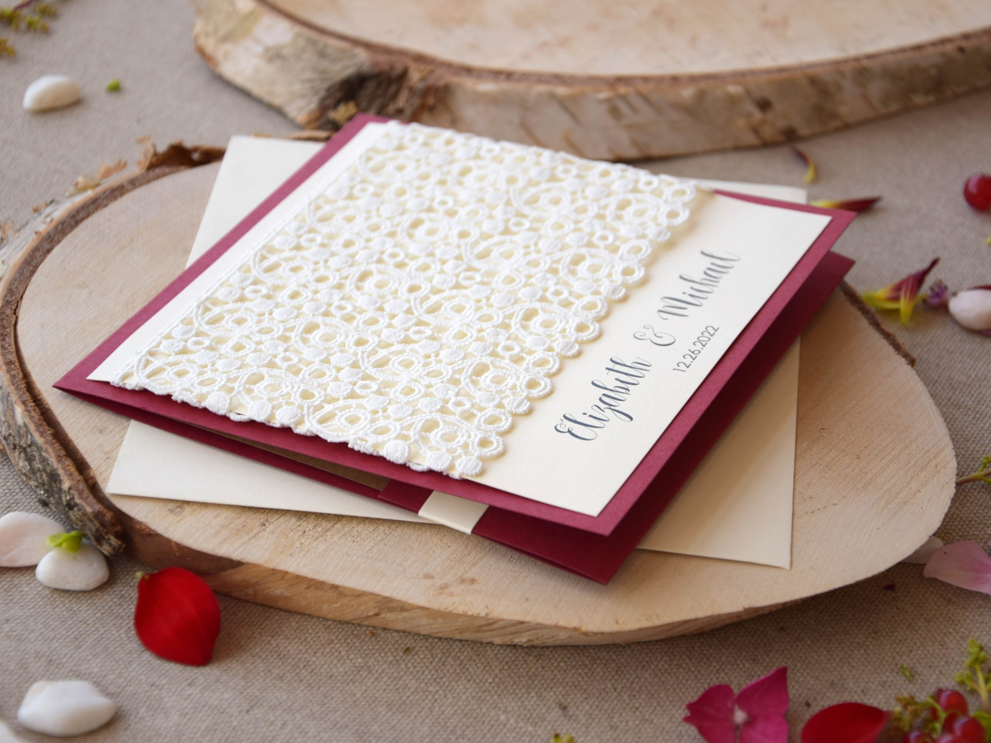 Burgundy Lace Pocketfold Wedding Invitations