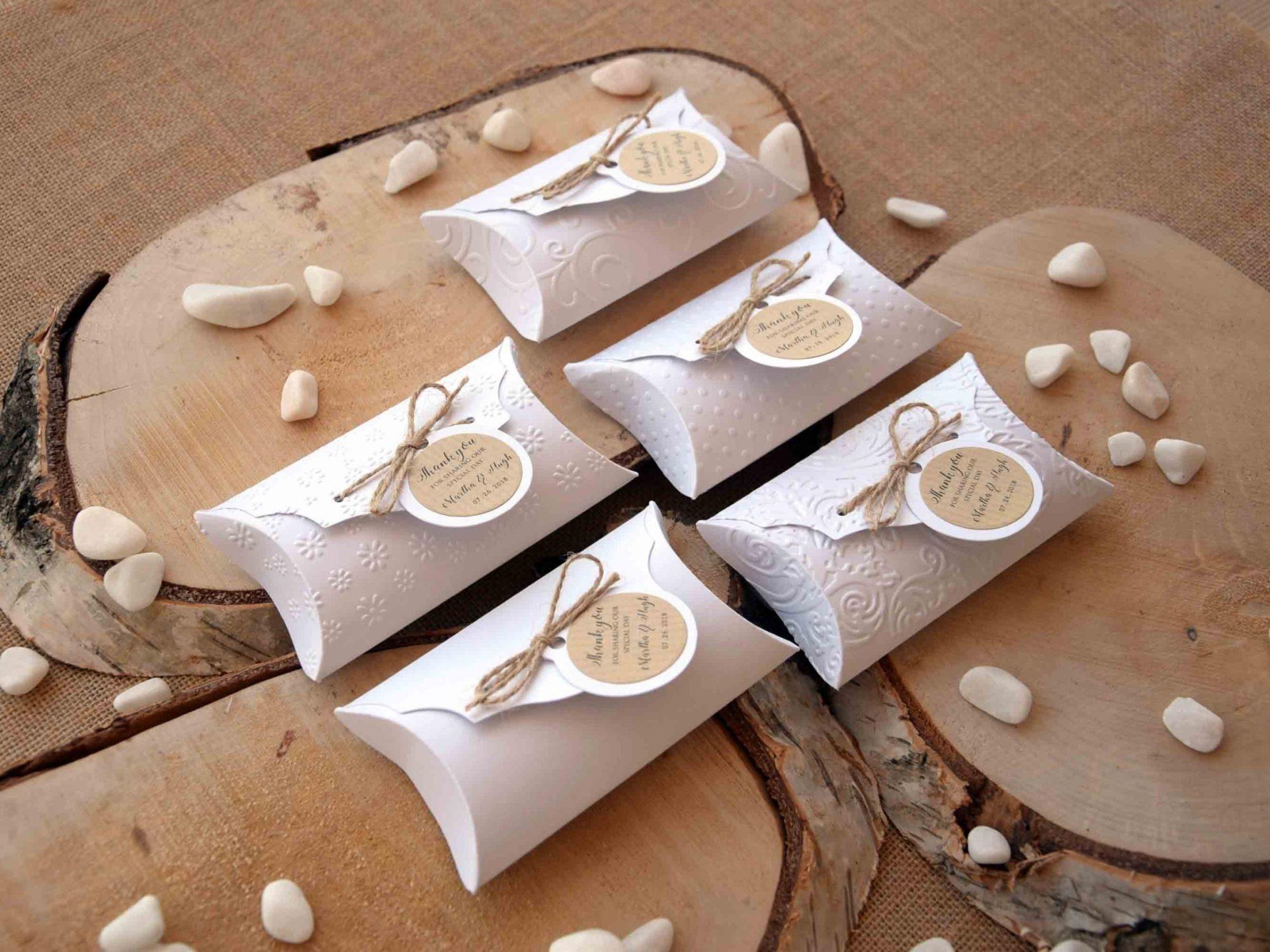 White Wedding Favor Pillow Boxes