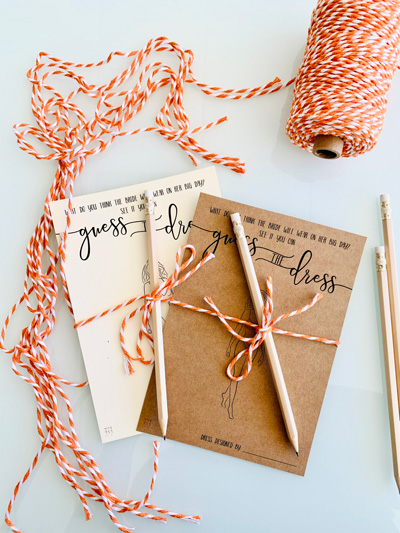Guess The Dress - A Fun Game Card for Your Bridal Shower