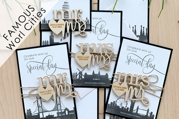 Watercolor City Skyline Magnet Save the Dates - US only